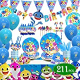 Shark Baby Party Supplies theme Set 211Pcs – Habbipet Sharks Ocean Themed Birthday Parties Decorations Includes Tableware Kit - Serves 16 Guest