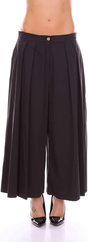 MANILA GRACE Women's P8JP207CUBLACK Black Cotton Pants