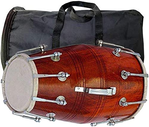 NSR TRADERS Wooden Indian Musical Professional Dholak With Carry Bag Instrument Drum Nuts Bolt 041