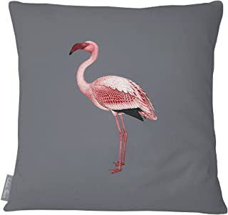 Izabela Peters Designer Luxury Outdoor Cushion Pillow Garden Waterproof Rattan Sofa - Flamingo - Gray -Tropical Collection - Designed, Printed & Handmade in the UK (Choice of Colorway)