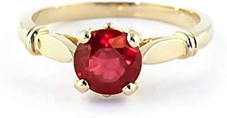 Galaxy Gold💎 14K Solid White Rose Yellow Gold Solitaire 2 Carat Vibrant Brilliant Ruby Ring