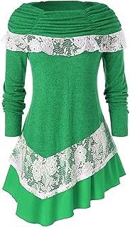 Women's Christmas Lace Decor Irregular Hem Blouses Long Sleeve Plus Size Casual T Shirt Boat Neck Solid Tops