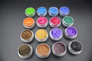 Mica Powder: 16 Jars/lot - Mica Pigment Powder ~ Perfect for Soap Making ~ Cosmetics ~ Resin ~ Dye ~ Makeup ~Nail Polish