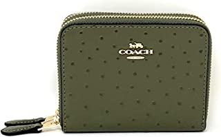 COACH WOMENS SMALL DOUBLE ZIP AROUND WALLET F77875 MILITARY GREEN/GOLD