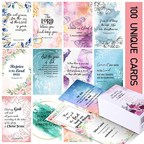 100 Prayer Cards for Women with Assorted Bible Verses, Mini Scripture Cards for Women's Bible Studies, Inspirational Religious Christian Gifts for Women