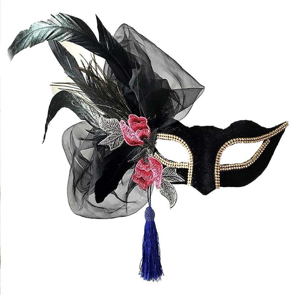 なかなか雹写真を描くNanle Halloween Ornate Blackコロンビーナフェザーマスク