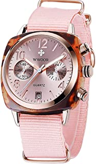 Women's Watch Nylon Sport Multifunction Watch Fashion Analog Quartz Watches with Date Waterproof Wristwatch Casual Watch Ladies (Red & Blue & Green & Pink)
