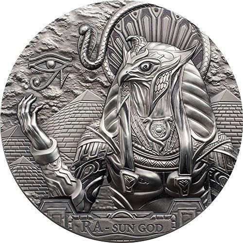 Power Coin RA Sun GOD Ägyptischer Sonnengott Egyptian Eagle Head Gods of The World 3 Oz Silber Münze 20$ Cook Islands 2018