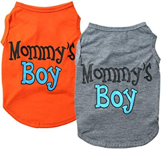 Yikeyo 2-Pack Mommy's Boy Dog Shirt Male Puppy Clothes for Small Dog Boy Chihuahua Yorkies Bulldog Pet Cat Outfits Tshirt ...