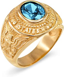 American Heroes March CZ Birthstone US Army Men's Ring in Solid 14k Yellow Gold