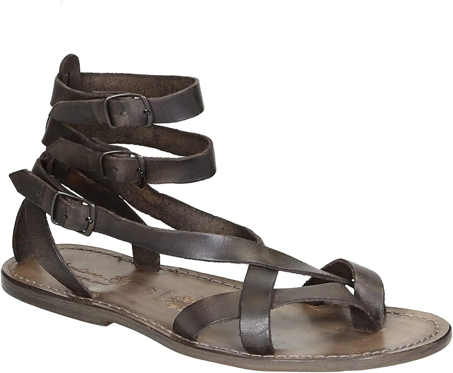 Brown Men's Year-end gift Gladiator Sandals Rapid rise Italy in Handmade