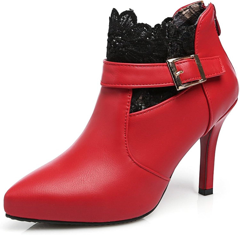 Lucksender Womens Pointed Toe High Heel Dress Boots