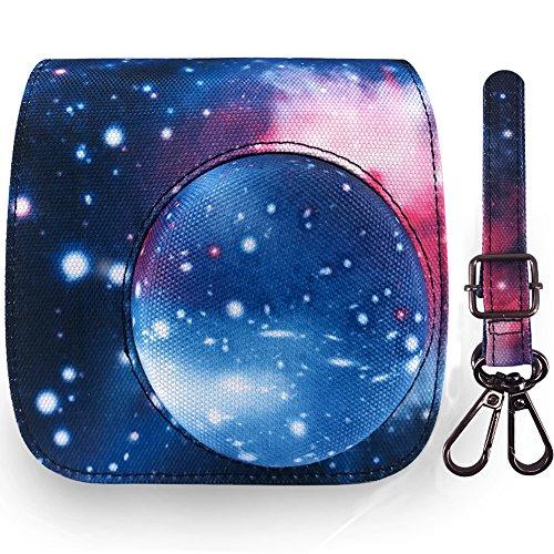Elvam Camera Case Bag Purse Compatible with Fujifilm Mini 9 Mini 8/8+ Instant Camera with Detachable Adjustable Strap - Blue Galaxy