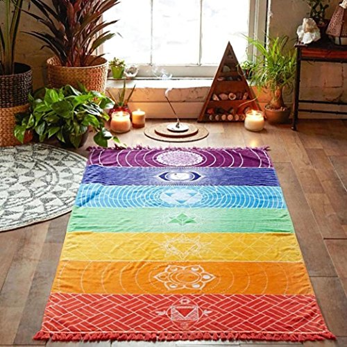 Goodsatar Poliéster Arco iris caliente playa Estera Manta de mandala Colgar en la pared Tapestry Stripe Yoga de la toalla (75X150cm)