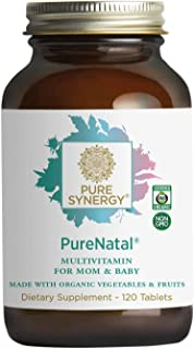 Pure Synergy PureNatal (120 Tablets) Prenatal Vitamin Made w/ Organic Fruits & Veggies, Gentle on Stomach