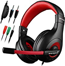 Dland Gaming Headset, 3.5mm Wired Bass Stereo Noise Isolation Gaming Headphones for Online Gaming with Mic for Laptop Computer, Cellphone, PS4 and so on- Volume Control (Black and Red)
