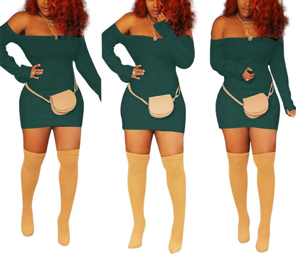 Available at Amazon: Acelitly Women's Off Long Sleeve Bodycon Short Mini Pencil Club Dress S-3Xl