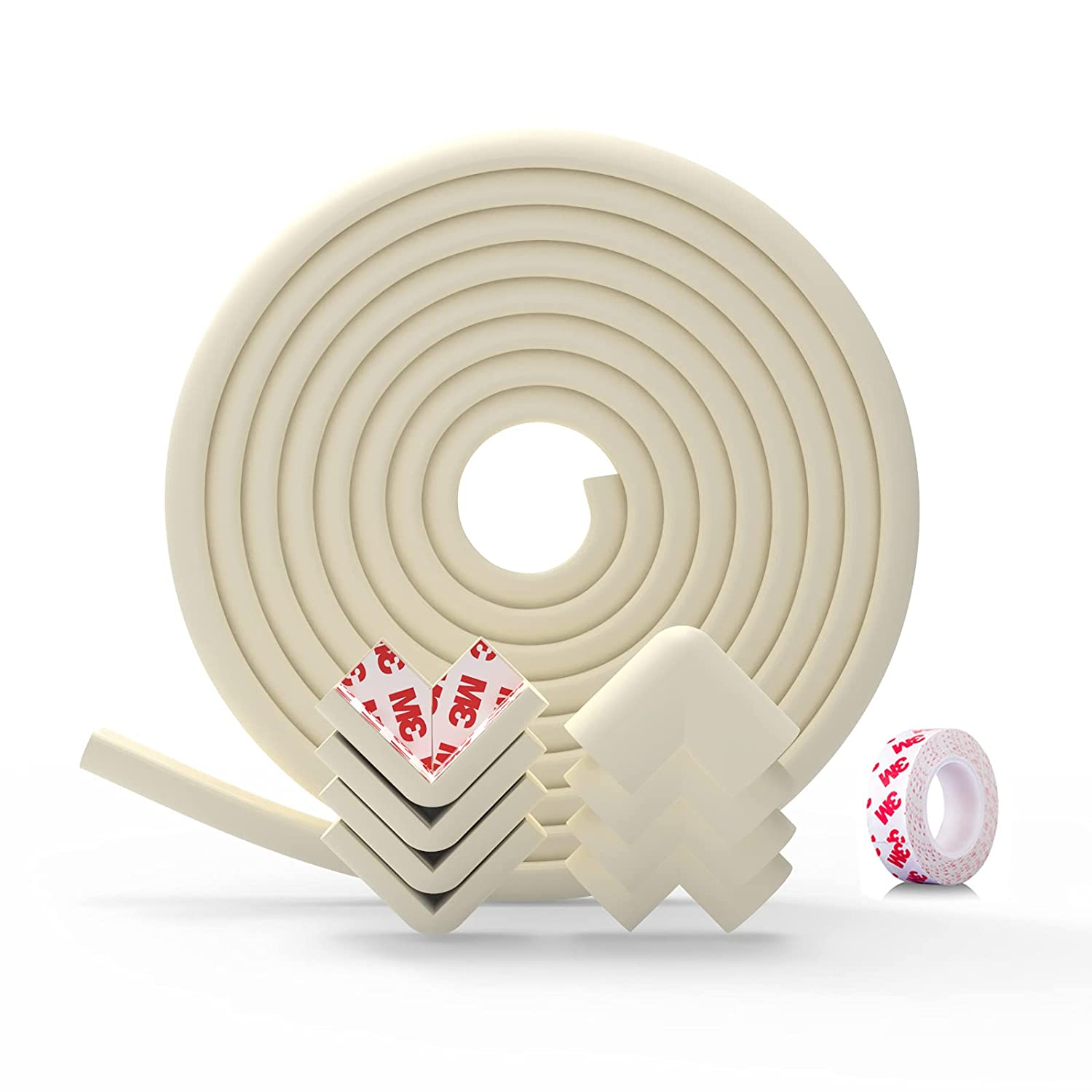 Baby Proofing Corner Guards Edge Protectors,Child Safety Foam Fireplace Table Bumper,3M Adhesion 19.3 ft (16.4 ft Edge + 8 Corners), Heavy-Duty (Cream-White) by Anairo (Cream White)