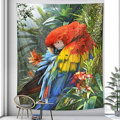 PPOU Tapiz de Animales montado en la Pared Planta de Palmeras Tropicales patrón de Flores Tapiz Bohemio Fondo de Tela Manta Tela Colgante A2 73x95cm