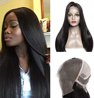 Beautiful Plucked and Bleached Knots Full Lace Human Hair Wigs for Black Women Peruvian Straight 180 Density Glueless Lace Front Wigs with Hair