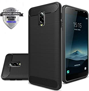 Asus Zenfone V Live Case, Shockproof Rugged Anti-Drop Carbon Fiber Rubber Soft Silicone Full-body Protective Cover for Asus V Live V500KL 5.0 Inch Cover with Tempered Glass Screen Protector. (Black)