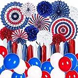 Decoración de fiesta con el día de la independencia de los Estados Unidos, 4 de julio, para fans de papel, globos rojos y azules, para fiestas de Estados Unidos, decoración de fiesta de despedida