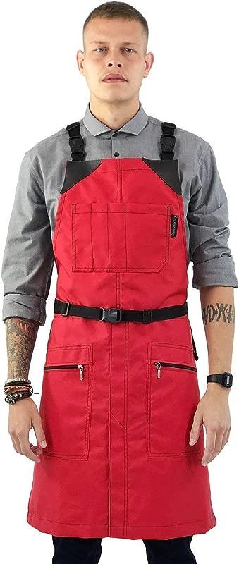Cross Back Barber Red Apron Heavy Duty Nylon Water And Chemical Resistant Zipped Pockets No Tie Split Leg Adjustable For Men Women Pro Hair Stylist Salon Colorist Artist