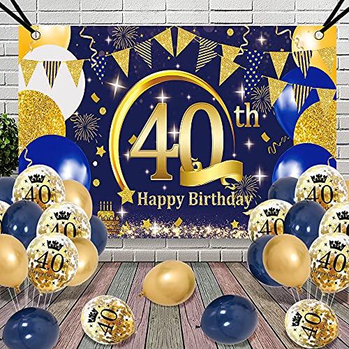 40 Cumpleaños Decoracion Globos, APERIL Azul Oro Póster Pancarta Globos de Cumpleaños Feliz Fiesta 40 Años Adultos Mujer Hombre, Confeti Latex Globos, 40 Aniversario Cumpleaños Pancarta de Fondo