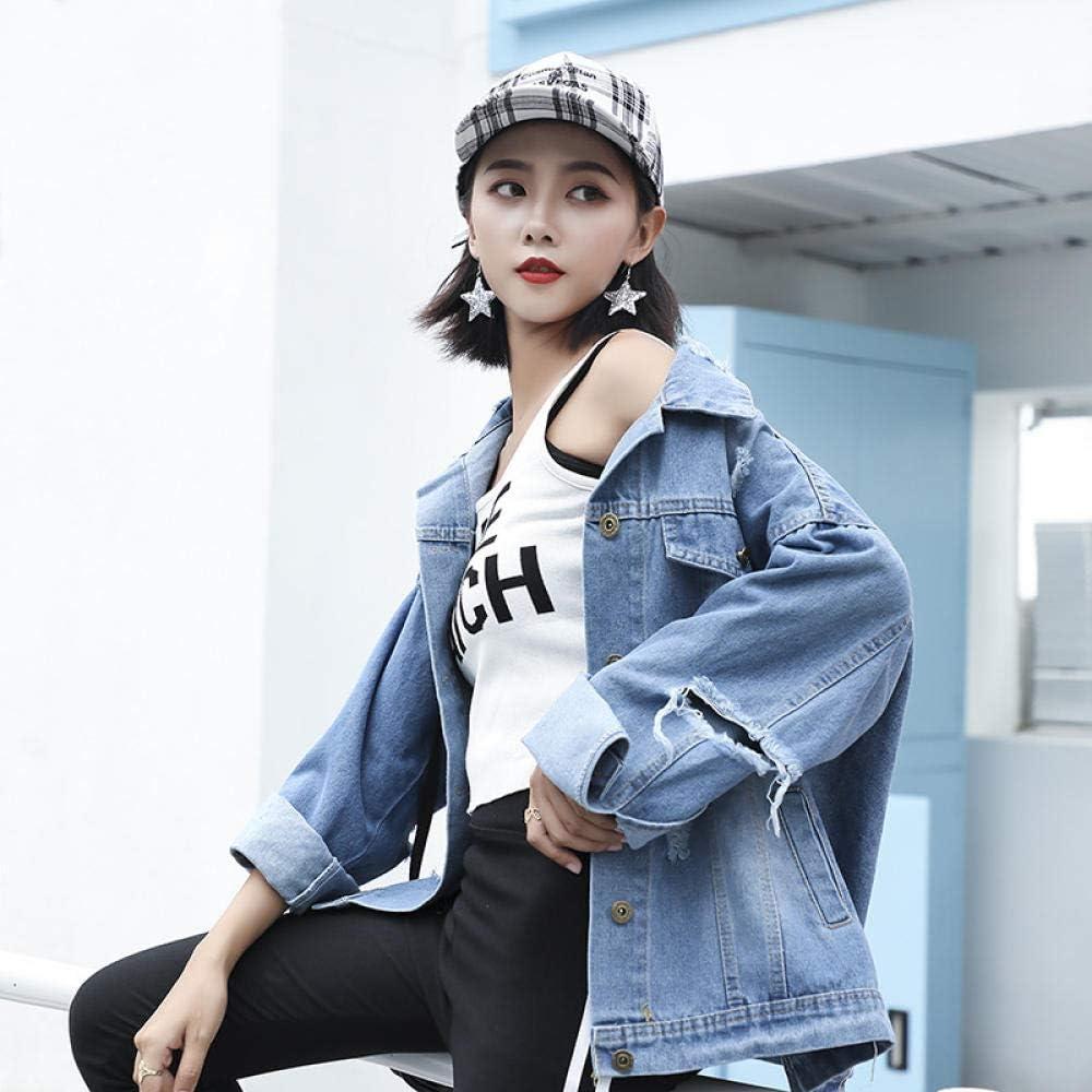 Liang Women's Denim Jacket Printed Denim Jacket Worn Long Sleeve Hole for Spring 2021-blue_L