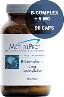 MethylPro B-Complex + 5mg L-Methylfolate 90 Capsules - Professional Strength Active Folate for Energy + Mood Support with Methyl B12 + B6 as P-5-P, Non-GMO + Gluten-Free