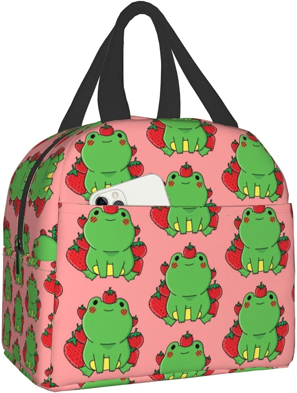 Cute Strawberry Frog Weekly update Lunch Box Food Container Reusable Max 82% OFF Bag