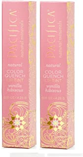 Pacifica Color Quench Vanilla Hibiscus Lip Tint (Pack of 2) with Coconut Oil, Candelilla Wax, Cocoa Seed Butter and Vitami...