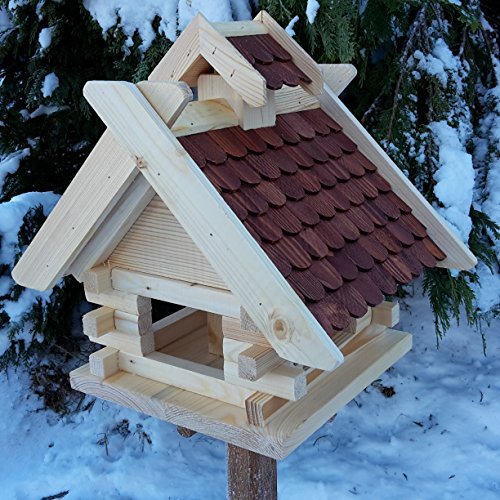Vogelhaus Schreinerarbeit Futterhaus Vogelhäuschen --Wetterschutz-- K Block Braun Holz Vogelhäuser