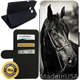 Flip Wallet Case for Galaxy S7 (Horse Racing) with Adjustable Stand and 3 Card Holders | Shock Protection | Lightweight | Includes Stylus Pen by Innosub