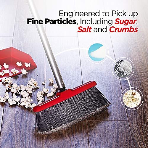 Fuller Brush Fiesta Red Kitchen Broom - Heavy Duty Floor Sweeper w/Extendable Steel Handle & Fine Long Bristles - Dust Sweeping For Home/Commercial Kitchen & Warehouse Floors