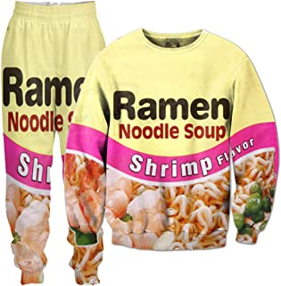 Shrimp Ramen Food 3D All Over Printed Crewneck Sweatshirts Sweatpants Tracksuits Streetwear Women Men Sets