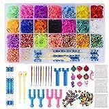 Gudotra Kit 6800pz Elastici di 22 Colori+50 Perline+ 10 Ciondoli+100 Gancini+10 Uncinetto+Tessitore per Creazione Braccialetti Regalo per Bambini