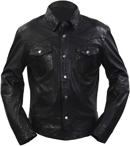 Homme Noir Toile Jeans Trucker en Cuir Chemise véritable Motard Veste