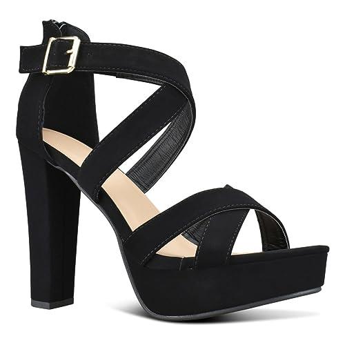 3073b00246 Premier Standard Women's Platform Ankle Strap High Heel - Open Toe Sandal  Pump - Formal Party