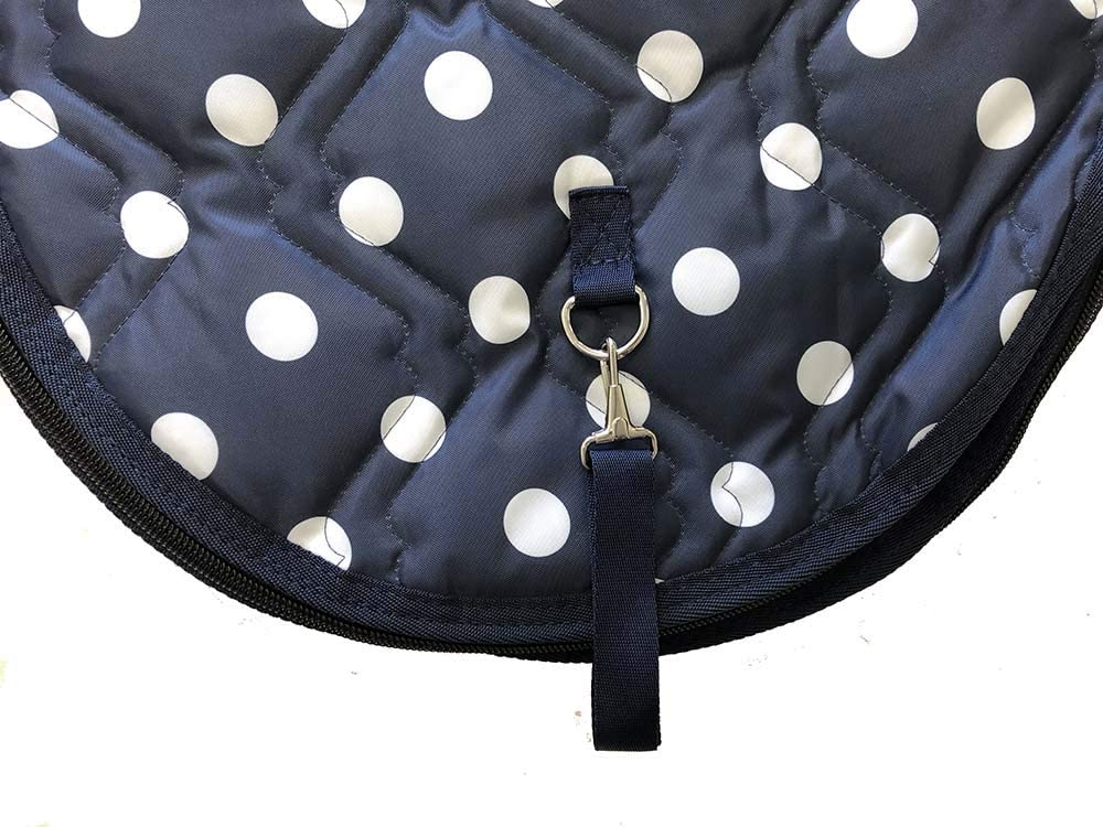 All Purpose English Horse Saddle Carrier Cover Travel Case Bag Padded Navy Polka Dots