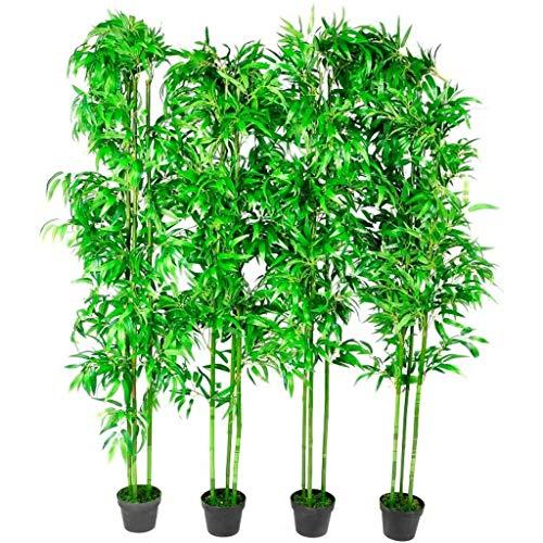 Fesjoy Ensemble de 4 Plantes décoratives en Bambou Artificiel, Arbres artificiels pour la Maison, Le Bureau et Le Hall d'accueil, 190 cm