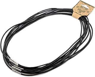 "Justinstones 10pcs 18"" Genuine Black Leather Necklace Cord with Stainless Steel Connector"