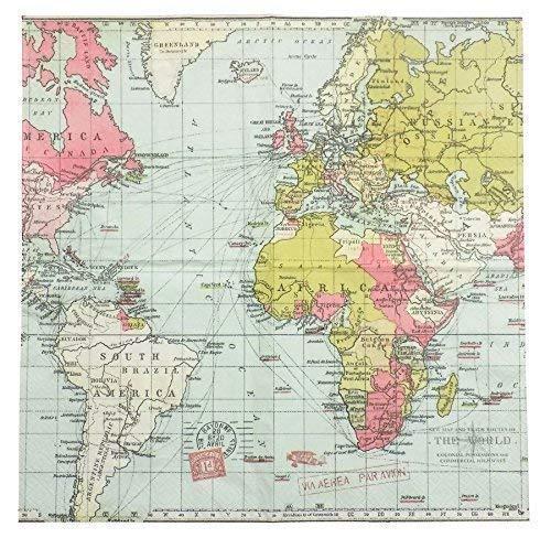 Carte du monde bleu rose vert 3-ply 20 Serviettes en Papier Serviettes 13 \