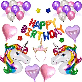 38PCS lovely unicorn balloon pink purple latex foil stars happy birthday balloons party decorations heart inflatable unico...