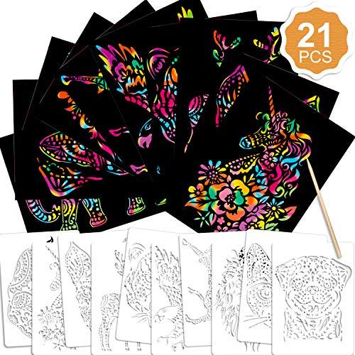 Konsait 21Pack Rainbow Scratch Art Set for Kids, 10pcs Magic Scratch Papers With 10 Animal Painting Templates& 1 Wooden Stylus Combo Scratch Art Set for Boys Girls DIY Art Craft Project School Supplies