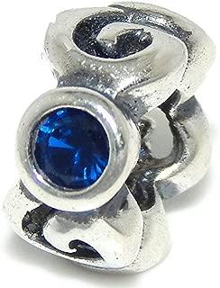 Solid 925 Sterling Silver Alternating Swirls and Dark Blue CZ Charm Bead