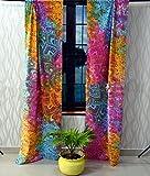Sophia-Art Mandala Ventana Varilla Bolsillo Cortina de algodón Hippie Tapiz Cortina de Puerta Cortina Balcón Cortinas de Ventana