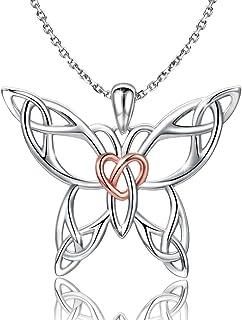 MANBU 925 Sterling Silver Celtic Butterfly Heart Pendant Necklace Earrings Jewelry Girls Women Ladies
