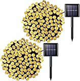 JMEXSUSS 2 Pack Solar String Light 200LED 75.5ft 8 Modes Solar Christmas Lights Waterproof for Gardens, Wedding, Party,Valentines,Christmas Tree,Homes,Outdoors (200LED-Warm White-2Pack)