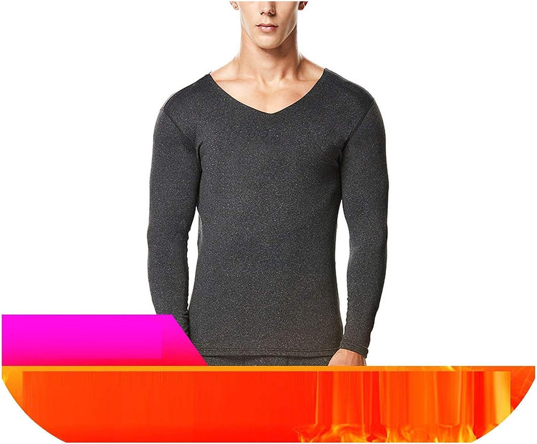 Men Winter Warm Thermal Underwear Thickening Heating Long Seamless Plush Cozy Undershirt,Dark Gray,XXXL